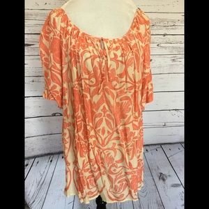 Coral & Ivory Print Blouse